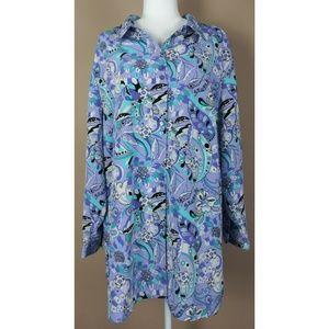Maggie Barnes Plus Size Purple Floral Button Down
